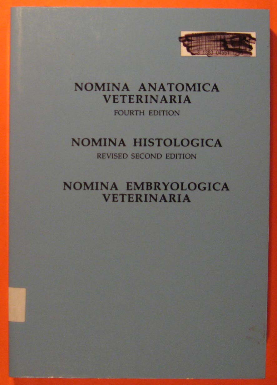 Image for Nomina Anatomica Veterinaria/Nomina Histologica/Nomina Embryologica Veterinaria