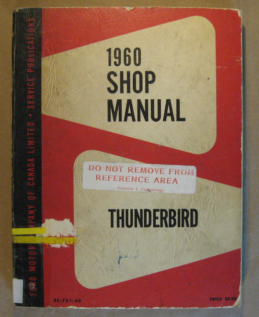 Image for 1960 Thunderbird Shop Manual