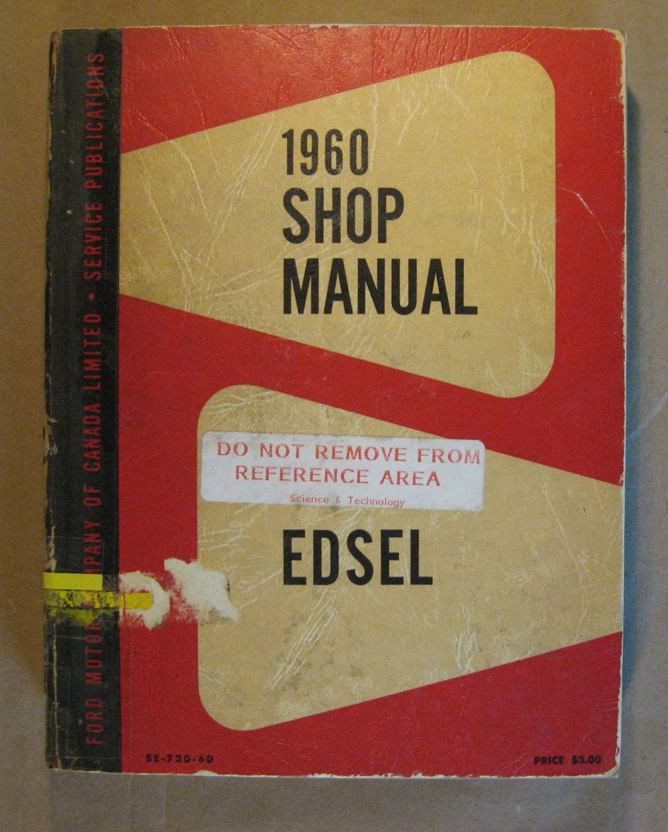 Image for Edsel Shop Manual 1960
