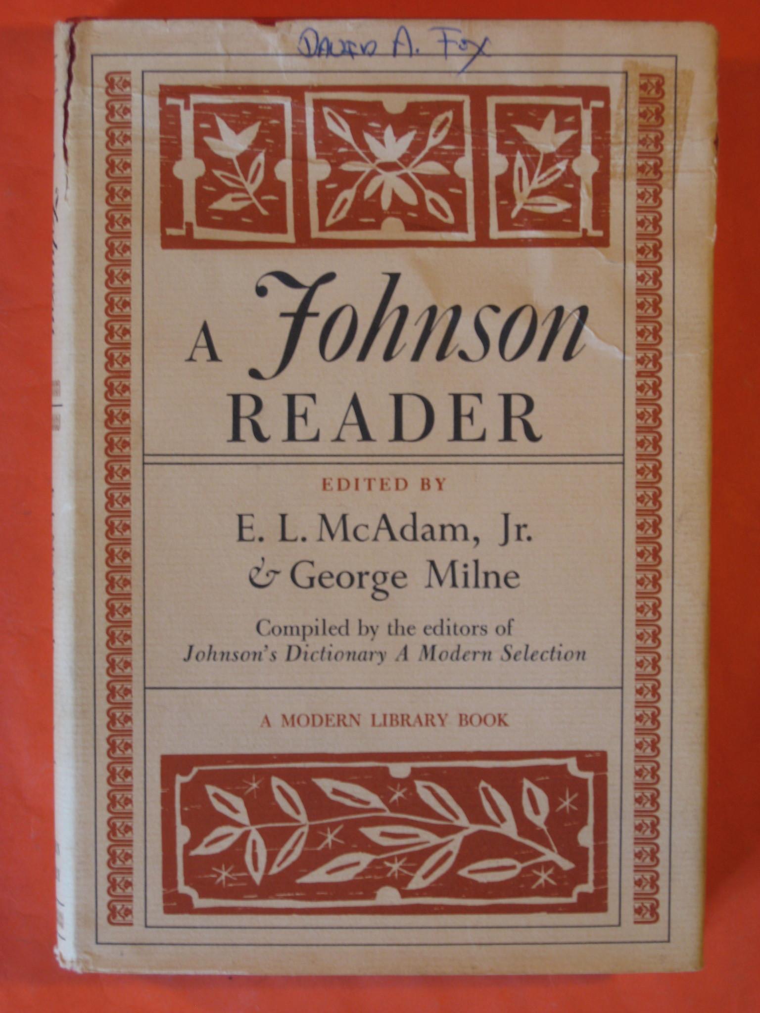 A Johnson Reader, Johnson, Samuel; E.L. McAdam, Jr. ; Milne, George