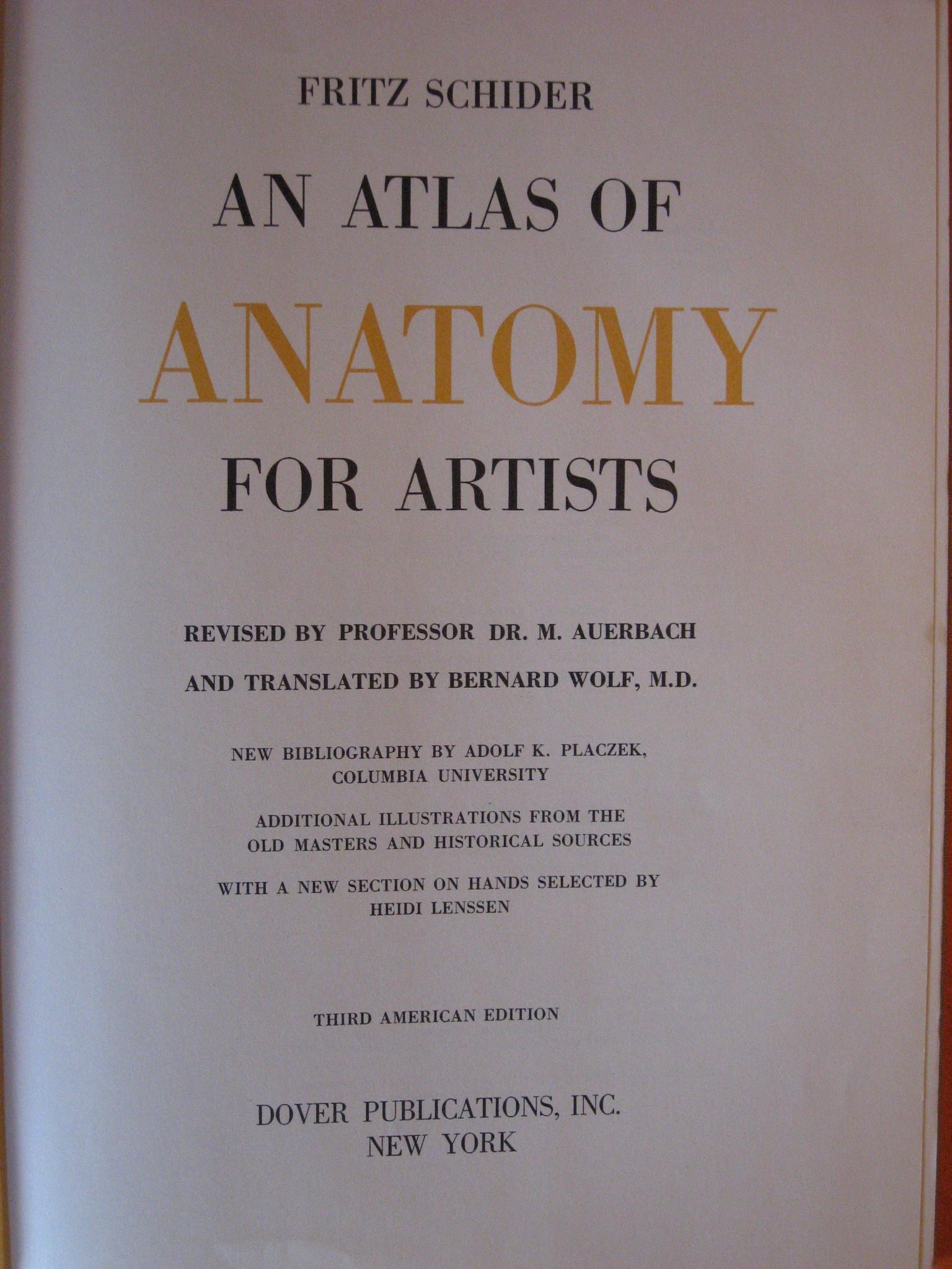 An Atlas of Anatomy for Artists, Schider, Fritz