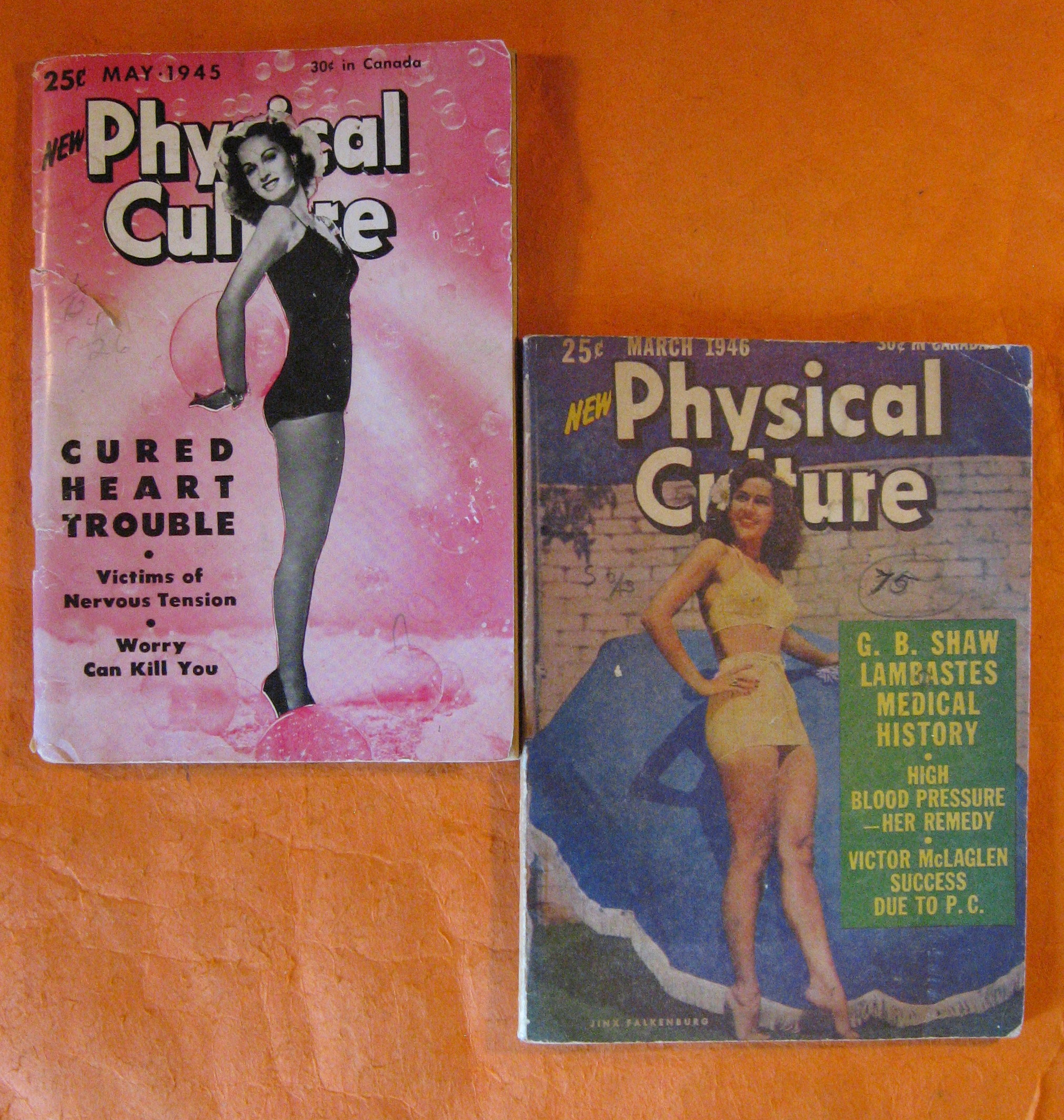 Two Copies of New Physical Culture Magazine, May 1945 and March 1946